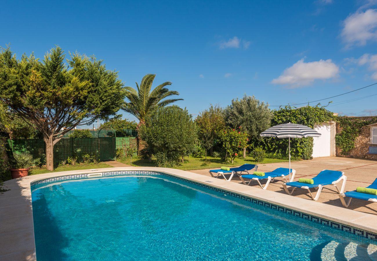 Private swimming pool of the villa Sa Canova in Menorca