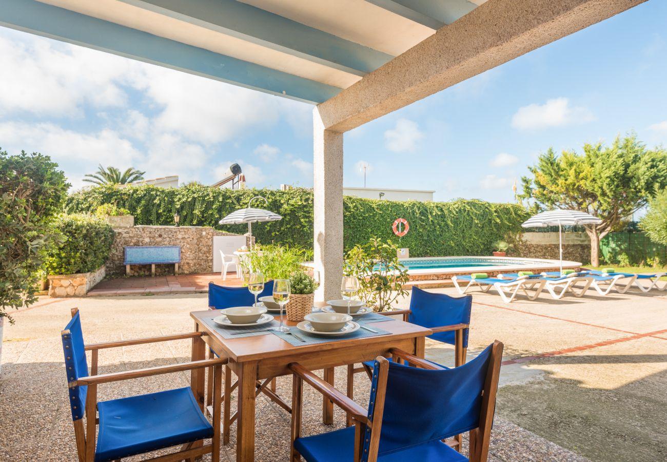 Terrace of the holiday home Sa Canova in Menorca