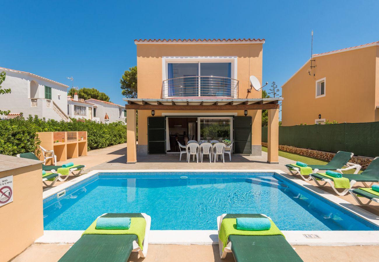 views of the swimming pool of the villa Garbo in Menorca
